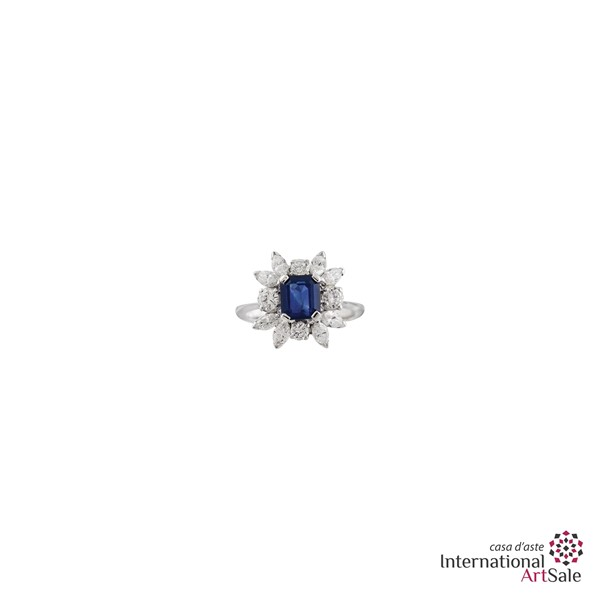 SAPPHIRE, DIAMOND AND GOLD RING  - Auction Jewelry - International Art Sale - Casa d'Aste