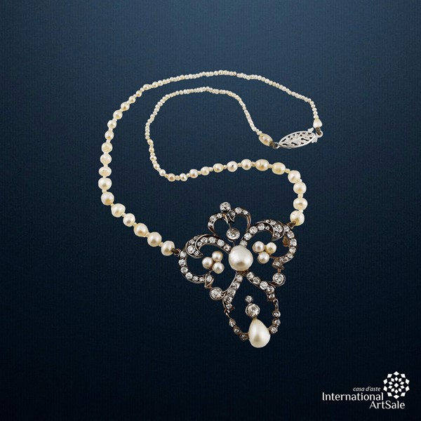 DIAMOND, PEARL, GOLD AND SILVER NECKLACE  - Auction Silver, Jewelry and Watches - International Art Sale - Casa d'Aste
