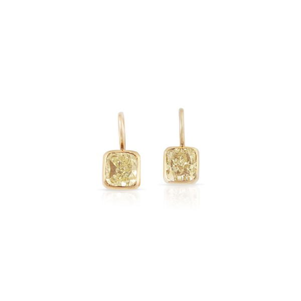 PAIR OF FANCY YELLOW DIAMOND AND GOLD EARRINGS  - Auction Important Jewelry - International Art Sale - Casa d'Aste